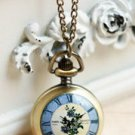 Antiqued Brass Vintage Style Flowers Retro Watch  Pocket Watch Necklace