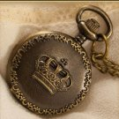 Antiqued Brass Vintage Style  Classic Necklace Royal Crown Carved  Pocket Watch Necklace