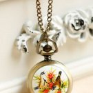 Antiqued Brass Vintage Style Flower Flower And Bird Painting Sword  Pocket Watch Necklace
