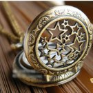 Antiqued Brass Vintage Style  Classic Necklace Hollow Five Pointed Star  Pocket Watch Necklace