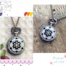Antiqued Brass Vintage Style Bohemia Style Retro Mosaic Flowers  Pocket Watch Necklace