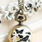 Antiqued Brass Vintage Style  Classic  Necklace  Babbling Thrush Butterfly Pocket Watch Necklace