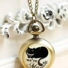 Antiqued Brass Vintage Style  Classic  Necklace  The black Cat  Pocket Watch Necklace