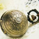 Antiqued Brass Vintage Style  Classic  Necklace Spider Web  A Ball Pocket Watch Necklace