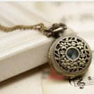 Antiqued Brass Vintage Style  Flowers Pocket Watch Necklace
