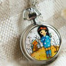 Silver Brass Vintage Style Eiffel Winter Girl Enamel  Pocket Watch Necklace