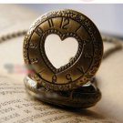 Antiqued Brass Vintage Style  A Heart Pierced Table   Pocket Watch Necklace