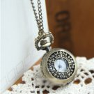 Antiqued Brass Vintage Style  Carved Hollow  Pocket Watch Necklace