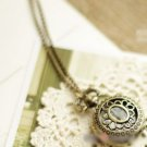 Antiqued Brass Vintage Style Carved Flowers Pocket Watch Necklace