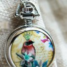 Antiqued Silver Vintage Style  Classic  Necklace  Red Bird Queen  Pocket Watch Necklace