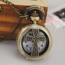 Antiqued Brass Vintage Style Classic Necklace  Hollow Out Cross Pocket Watch Necklace