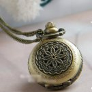 Antiqued Brass Vintage Style  Classic  Necklace   The  Flowers Hollow Out  Pocket Watch Necklace