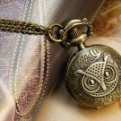Antiqued Brass Vintage Style  Indian Owl Pocket Watch Necklace