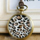 Antiqued Brass Vintage Style  Fashion Leopard  Pocket Watch Necklace