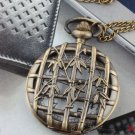 Antiqued Brass Vintage Style Bamboo hollow  Pocket Watch Necklace