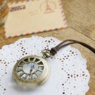 Antiqued Brass Vintage Style The Sun Pierced Pocket Watch Necklace