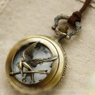 Antiqued Brass Vintage Style L the Hunger Games mocking bird   Pocket Watch Necklace