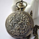 Antiqued Brass Vintage Style  Big Palace Mural Pocket Watch Necklace