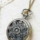Antiqued Brass Vintage Style Classic Hollow Out The Windmill Flowers Pocket Watch Necklace