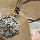 Antiqued Brass Vintage Style Hollow Star Leaves Pocket Watch Necklace