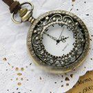 Antiqued Brass Vintage Style Stars Hollow Pocket Watch Necklace