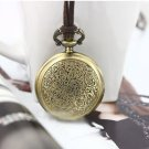 Antiqued Brass Vintage Style Classic Ripple Pocket Watch Necklace