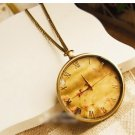 Antiqued Brass Vintage Style Classic Color Without Cover Pocket Watch Necklace