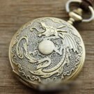 Antiqued Brass Vintage Style  The Dragon Totem Pocket Watch Necklace