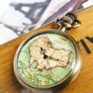 Antiqued Brass Vintage Style  Map Projection  Pocket Watch Necklace