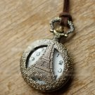 Antiqued Brass Vintage Style Relief In Eiffel Tower  Pocket Watch Necklace