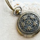 Antiqued Brass Vintage Style Five Roses Pocket Watch Necklace