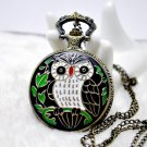Antiqued Brass Vintage Style Color The Owl Relief Pocket Watch Necklace
