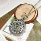 Antiqued Brass Vintage Style Hollow Out  Pocket Watch Necklace
