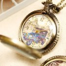 Antiqued Brass Vintage Style Crystal Shell Vintage Car Pocket Watch Necklace