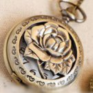 Antiqued Brass Vintage Style Cut Rose Pocket Watch Necklace