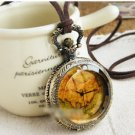Antiqued Brass Vintage Style Map Citrine Shell Pocket Watch Necklace