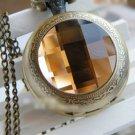 Antiqued Brass Vintage Style The Time Gem Pocket Watch Necklace