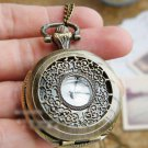 Antiqued Brass Vintage Style  Hollow Carved Pocket Watch Necklace
