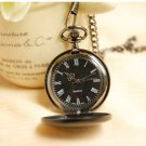 Classic  Vintage Style Glossy Black Rome Words Pocket Watch Necklace
