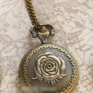 Antiqued Brass Vintage Style Classic Flos Rosae Rugosae Pocket Watch Necklace