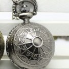 Antiqued Silver Vintage Style Classic Spider ball Pocket Watch Necklace