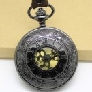 Metal Black Vintage Style Gun Black Rome Pocket Watch Necklace