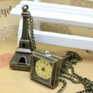 Antiqued Brass Vintage Style Classic Eiffel Tower Pocket Watch Necklace
