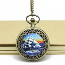 Antiqued Brass Vintage Style Vintage Sailing Pocket Watch Necklace