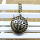 Antiqued Brass Vintage Style Classic Cartoon Owl Pocket Watch Necklace