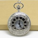 Silver Vintage Stylel Roman Pocket Watch Necklace