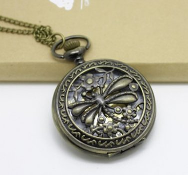 Antiqued Brass Vintage Style Hollow Out The Dragonfly  Pocket Watch Necklace
