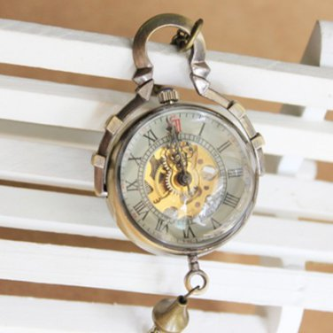Antiqued Brass Vintage Style Classic Punk Mechanical Ball Pocket Watch Necklace