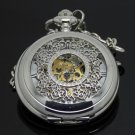 Antiqued Silver Vintage Style Classic Dense Pattern Machine Pocket Watch Necklace