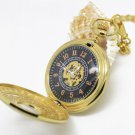 Antiqued Gold Vintage Style Classic Dense Pattern Machine Pocket Watch Necklace